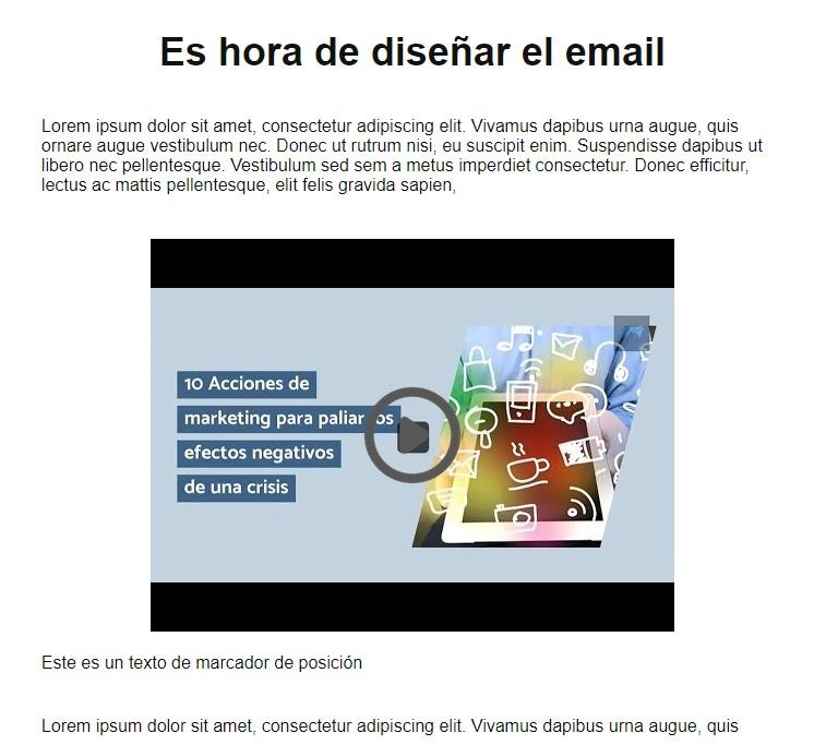 video en un email