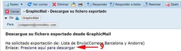 Descarga desde tu email los datos de exportación