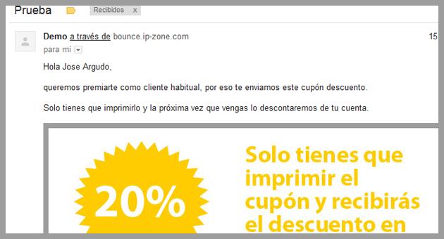 Otro ejemplo de email recibido con un 20% de descuento