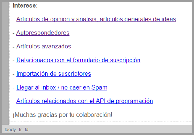 Enlaces incluidos en la newsletter