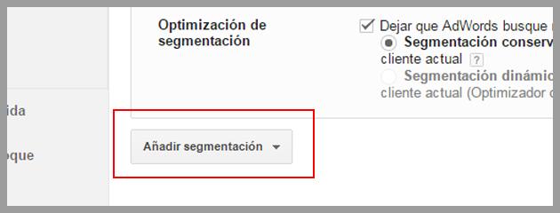 Añadir segmentación