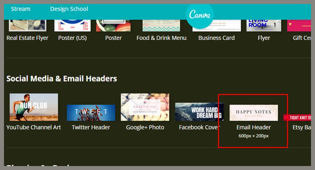 """Selecciona la opción """"email header"""" de Canva"""