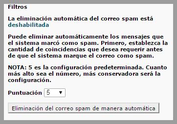 Mensaje de filtro antispam