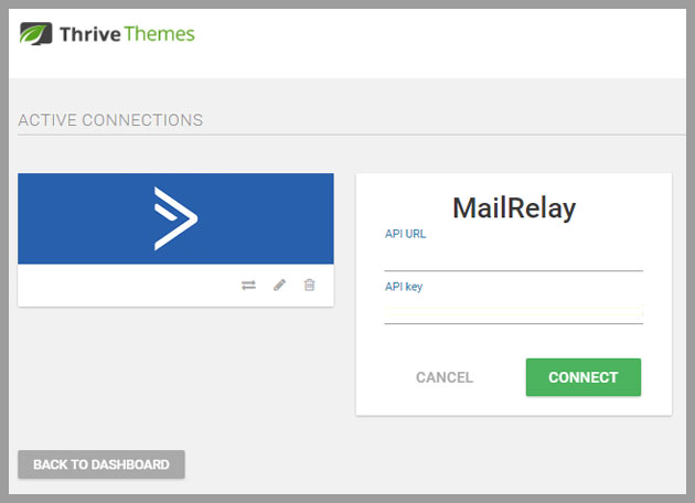 Thrive themes se integra de forma directa con Mailrelay