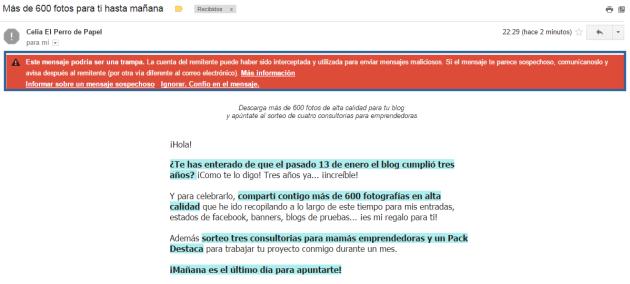 Mensaje de gmail para marcar como mensaje de confianza