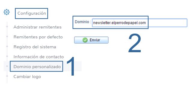 Configuración del dominio personalizado