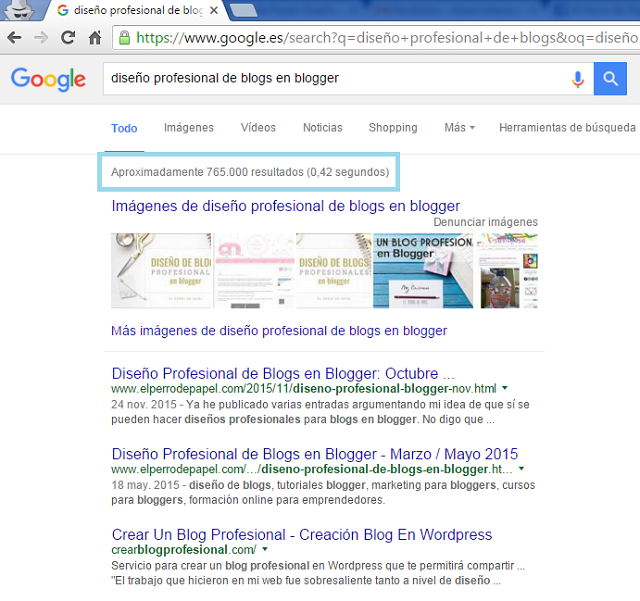Ejemplo de búsqueda de palabras clave en Google