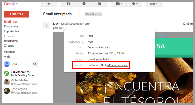 Ejemplo de email recibido encriptado