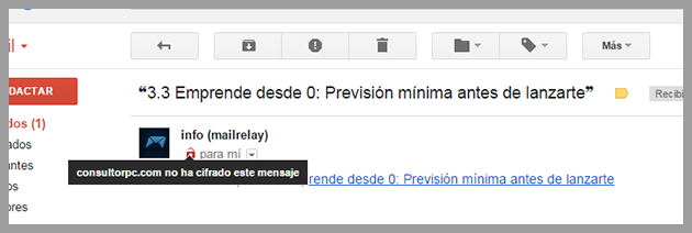 ejemplo de cómo se muestra un email no encriptado