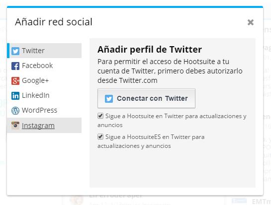 Añadir perfil en twitter