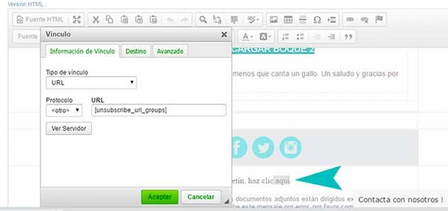 crear vínculo en el email template