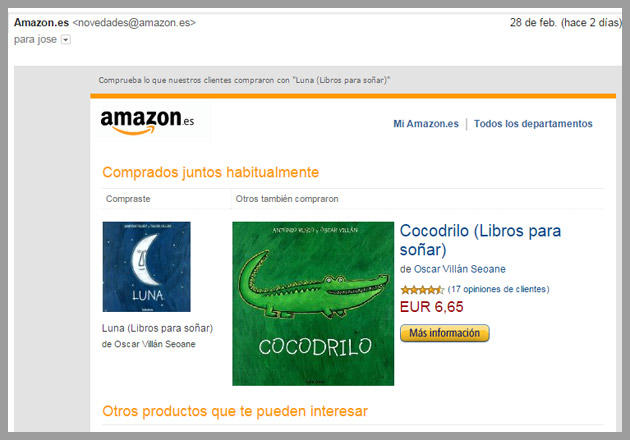 Envíos de email marketing de amazon