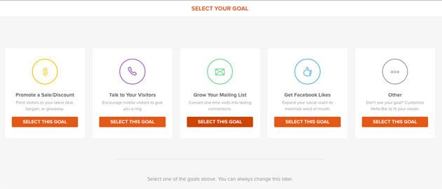seleccionar forma de captación de emails en HelloBar