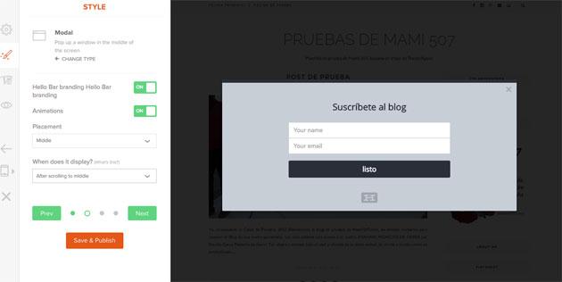 Configuración del estilo del formulario de Hellobar
