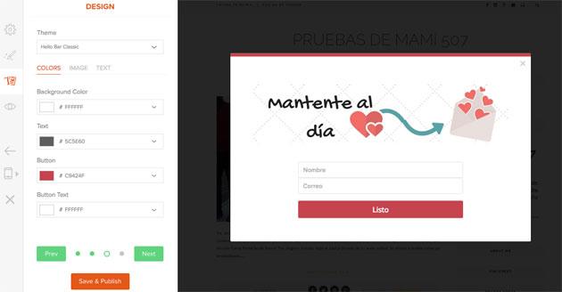 Aplicación de diseño a nuestro formulario de HelloBar