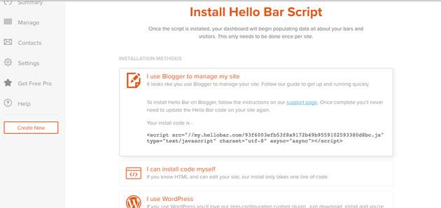 Código de hellobar para insertar formulario en Blogger