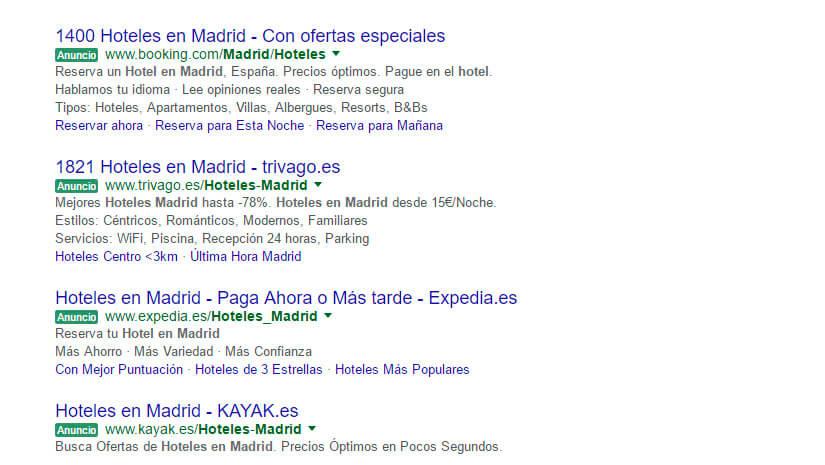 Resultados en Google de SEM