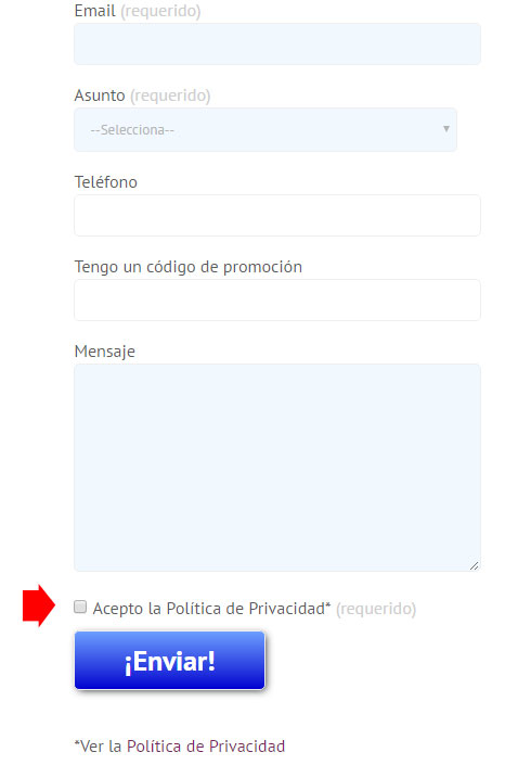 Ejemplo de formulario de suscripción