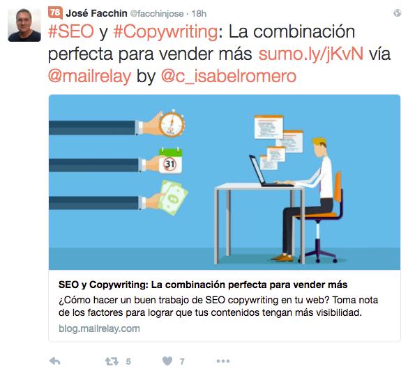 Un ejemplo de tweet perfecto publicado por José Facchin