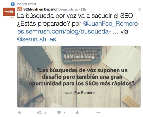 Ejemplo de tweet perfecto de la cuenta de Semrush