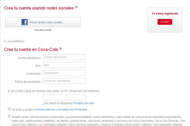 Registro de suscriptores de Coca Cola