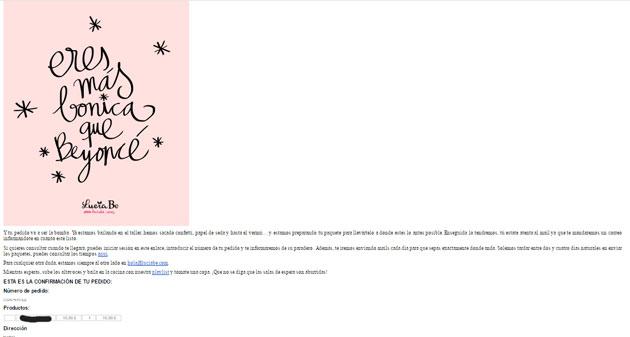 Ejemplo de email de confirmación de pedido