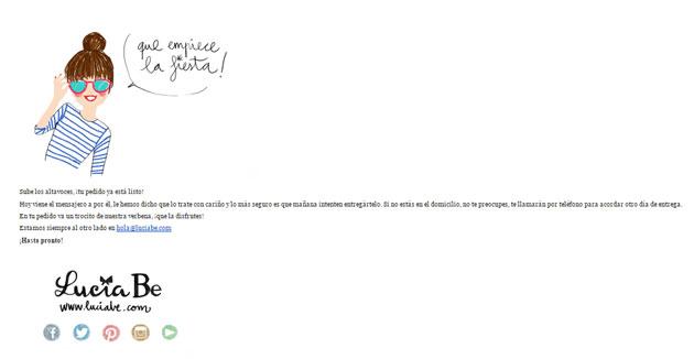 Ejemplo de email de pedido enviado
