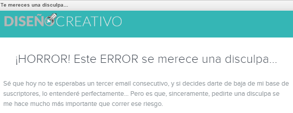 Newsletter con error