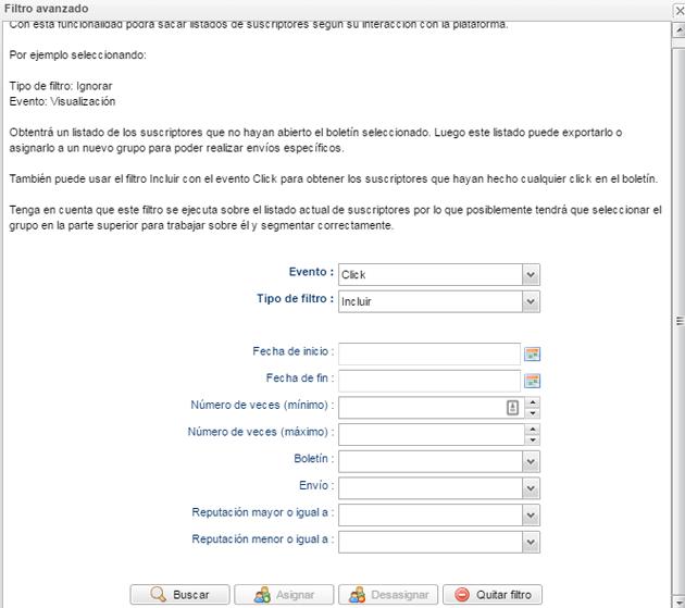filtros avanzados lista de suscriptores