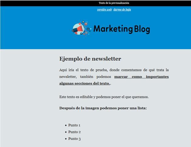 ejemplo de newsletter