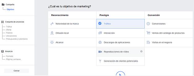 tipos de campañas de facebook
