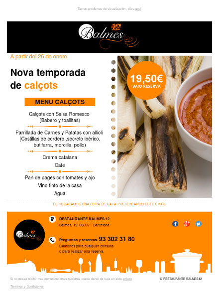 ejemplo newsletter restauracion