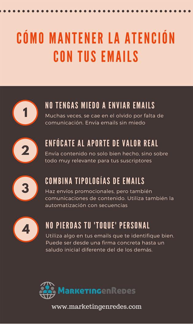 Cómo mantener la atención con tus emails