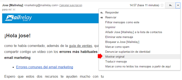 gmail mostrar original