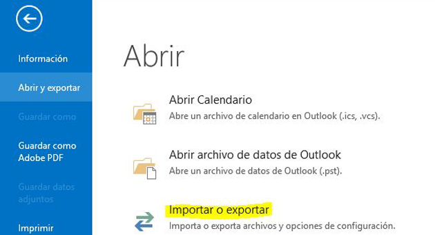exportar outlook