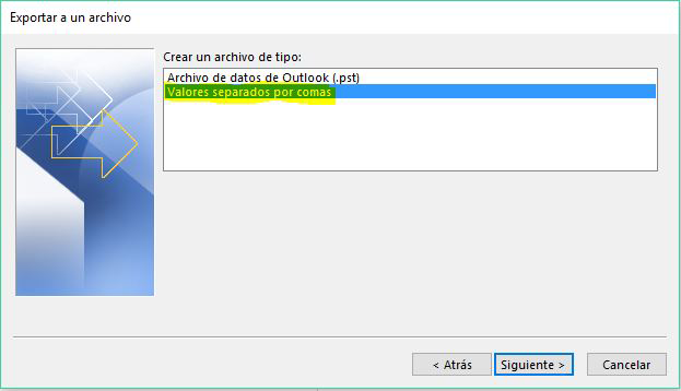 exportar contactos outlook