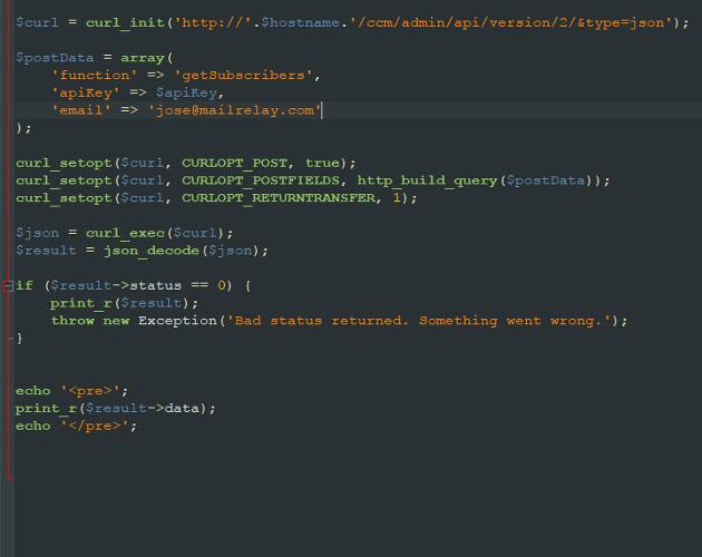 ejemplo API Mailrelay