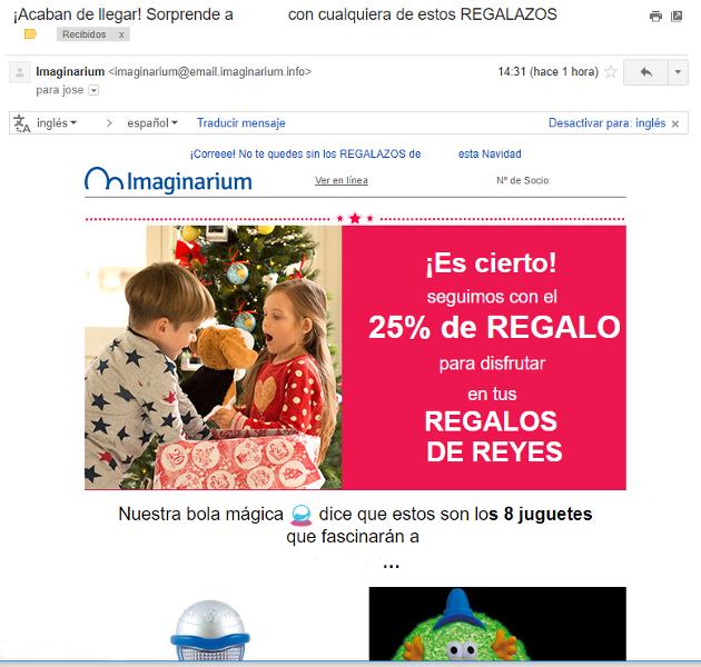 ejemplo de newsletter de venta navideña
