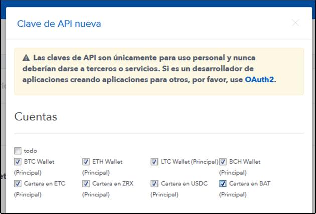 coinbase clave API