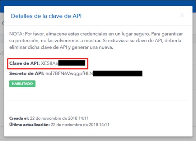 detalles clave API