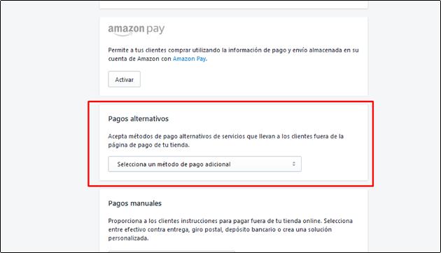 shopify metodo de pago