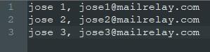 Formato del fichero a importar