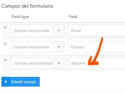 campos personalizados, formulario de suscripción