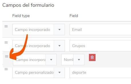 campos personalizados formulario de suscripción