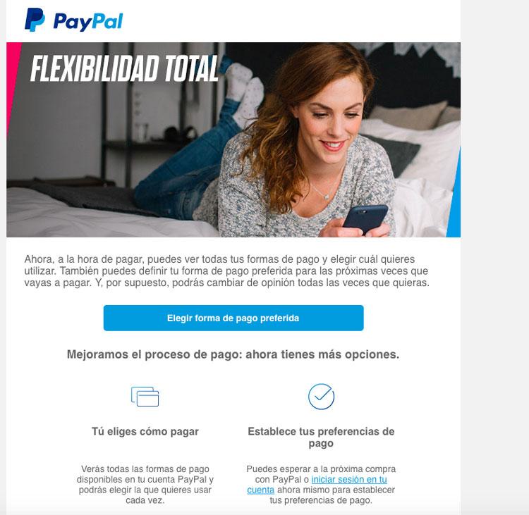 PayPal ha optado un diseño limpio y equilibrado