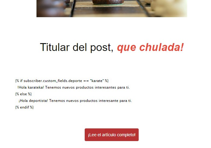 newsletter con condicionales