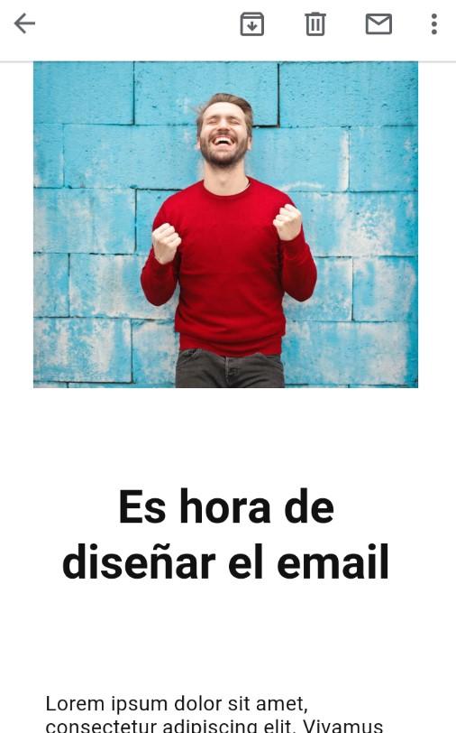 ejemplo de newsletter en móvil