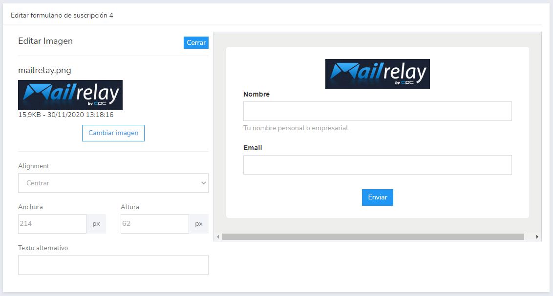 formulario de suscripción de mailrelay