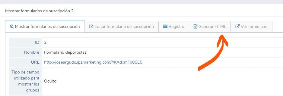 generar html del formulario de suscripción