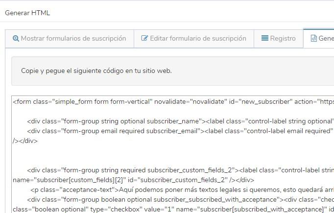 formulario de suscripción código html